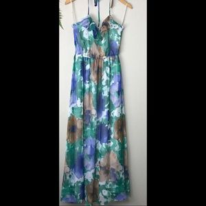 forever 21 green brown and blue halter maxi dress